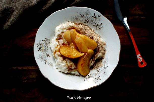 Migdałowy ryż z gruszkami i karmelem