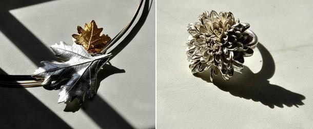 Pradelle: złote kwiaty, srebrne liście