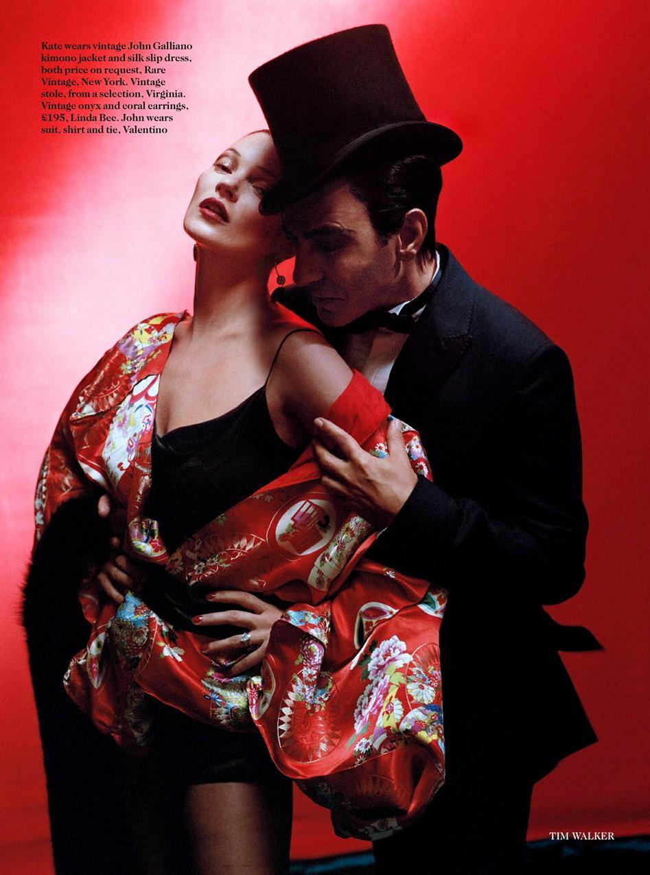 John Galliano i Kate Moss w sesji Tima Walkera / Vogue UK