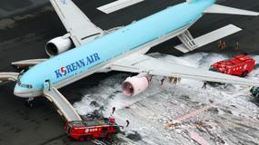 Ewakuacja samolotu Korean Air na lotnisku w Tokio
