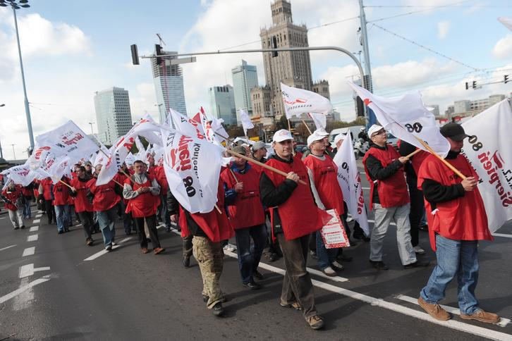 Protest pielęgniarek w centrum Warszawy.