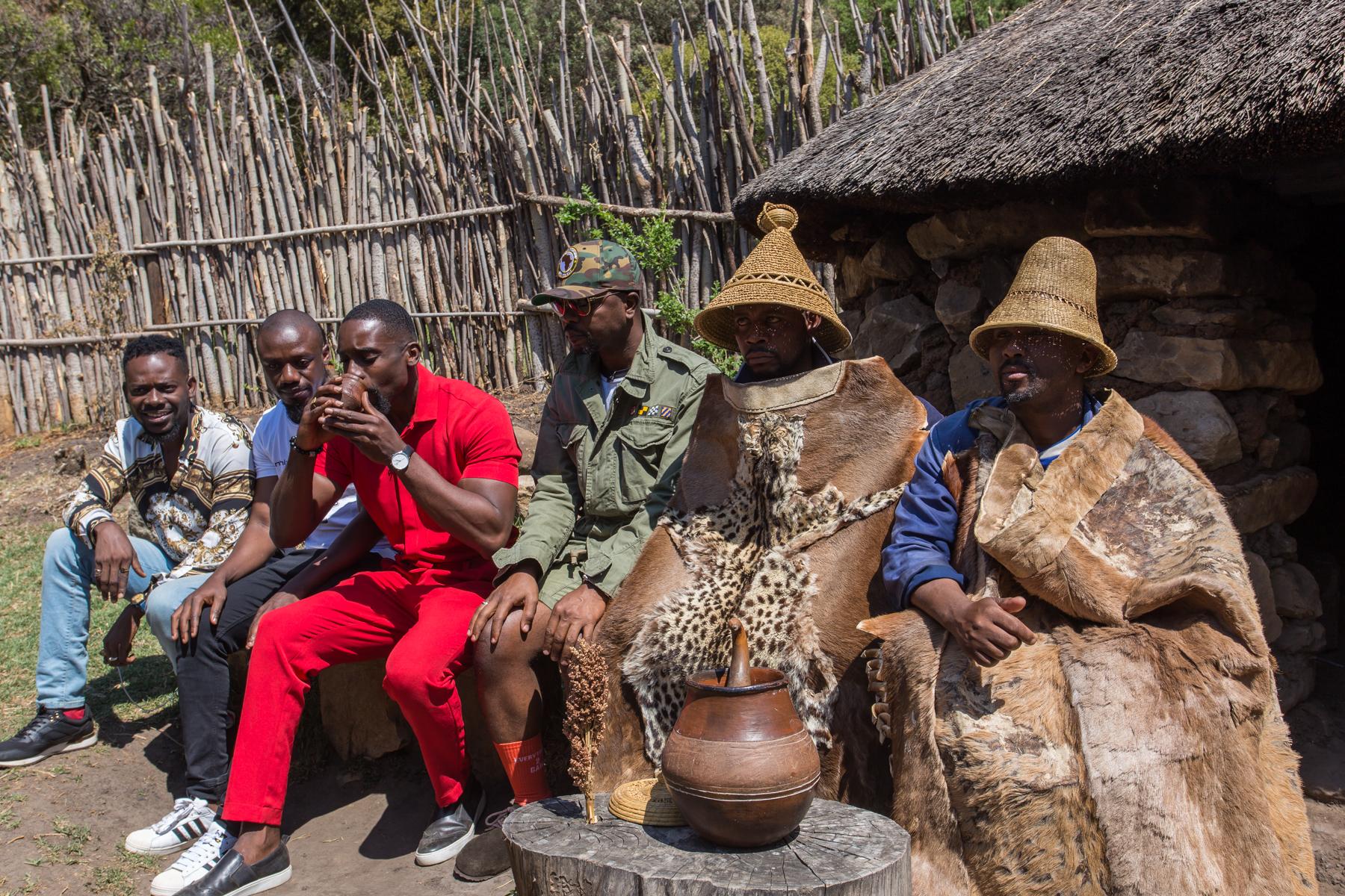 Drinking Local Wine at Basotho Cultural Village