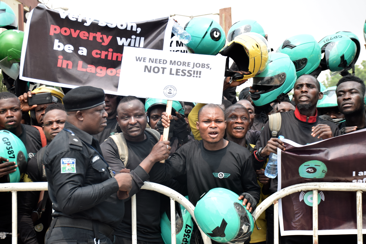 Max and Gokada protesters in Lagos (The Cable)