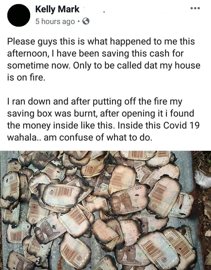 """""""Inside this COVID-19... I'm confused about what to do"""" - Man cries after losing money box to fire"""