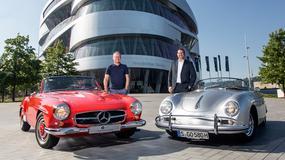 Porsche przed Muzeum Mercedesa