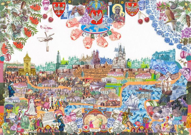 Varsovia 2013 kolaz z fragmentów znaczkow pocztowych