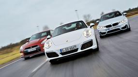 Porsche 911 kontra BMW M4 i Nissan GT-R - trio z biturbo