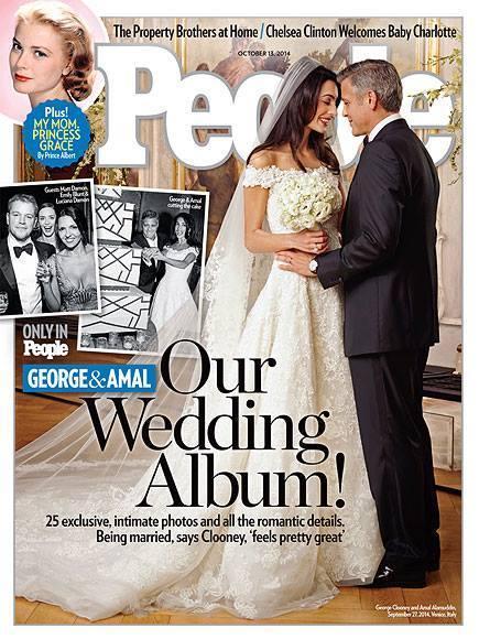 """Ślubne zdjęcie George Clooneya i Amal Alamuddin na okładce magazynu """"People"""""""