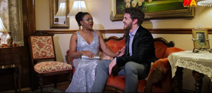 Stella Damasus plays the lead in a new movie 'Between' which she co-produced with her husband Daniel Ademinokan [YouTube]