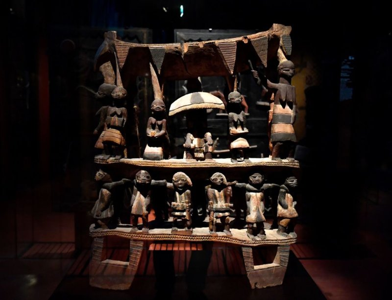 Royal Seat of the Kingdom of Dahomey from the early 19th century, at the Quai Branly museum in Paris, on June 18, 2018