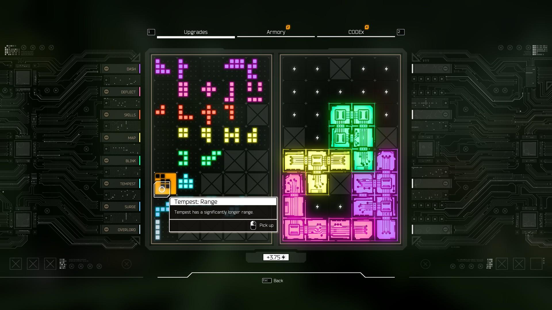 Vylepšovanie schopností je vyriešené Tetrisom. Koľko toho zmestíme, toľko toho budeme mať.