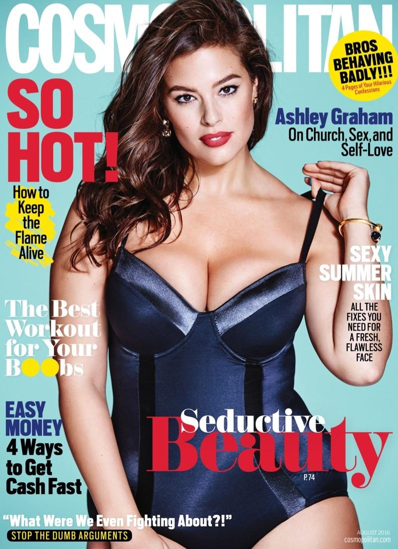 "Ashley Graham na okładce magazynu ""Cosmopolitan"""