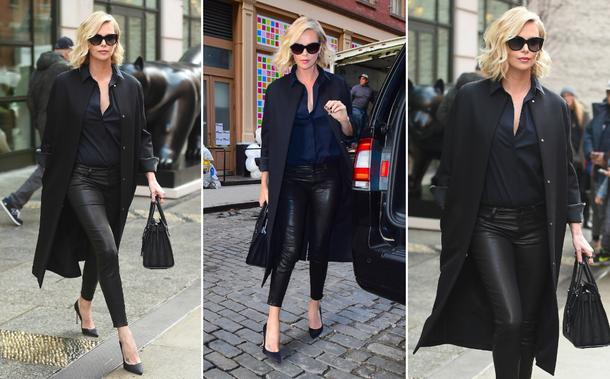 Best Look: Charlize Theron w skórzanych spodniach L'Agence