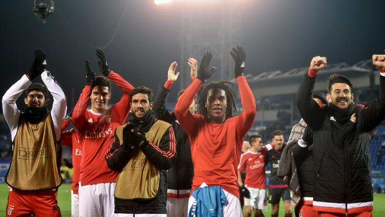 Benfica továbbjutott, örülhettek a játékosai /Fotó: AFP