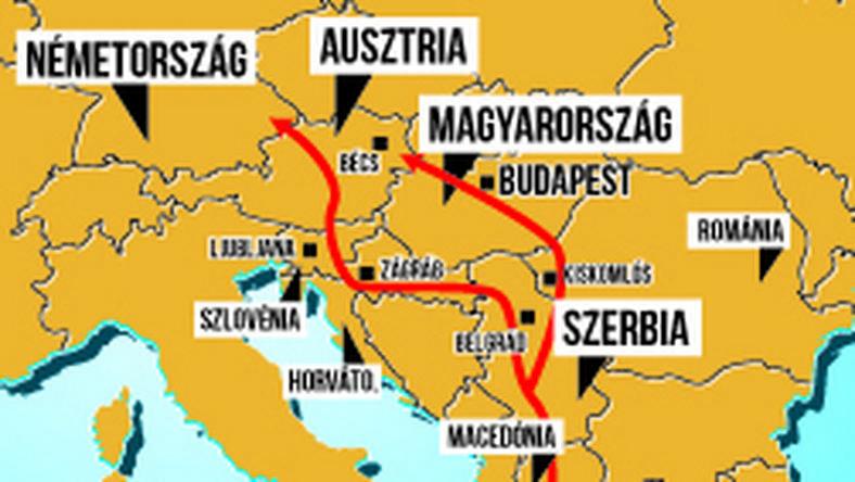 A térképen a baloldali nyíl mutatja a migránsok jelenleg használt útvonalát. A most elfogott csoport a jobb oldali nyíllal jelzett útvonalon próbálkozott