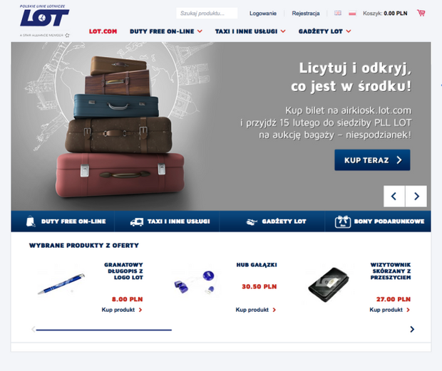 Licytuj i odkryj, co jest w środku - informacja o aukcji bagaży na stronie LOT, airkiosk.lot.com