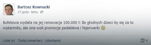 Screen z Facebooka Bartosza Kownackiego