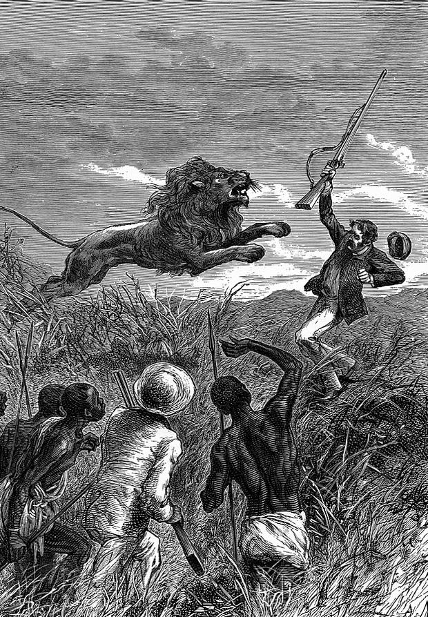 David Livingstone zaatakowany przez lwa
