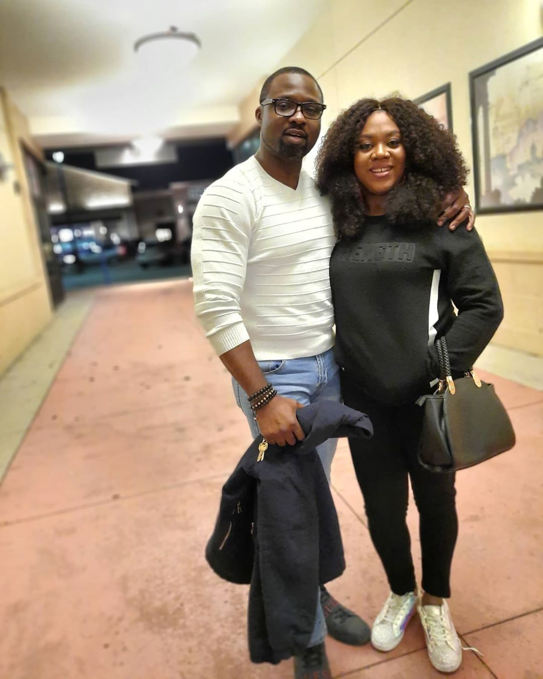 Stella Damasus pictured here with her husband Daniel Ademinokan says she has been spending time with her family during this lockdown (Instagram/Daniel Ademinokan)