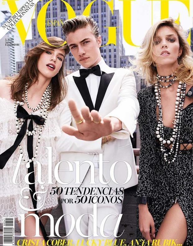"Anja Rubik i Lucky Blue na okładce magazynu ""Vogue"""
