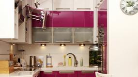 Mała kuchnia w różowym kolorze