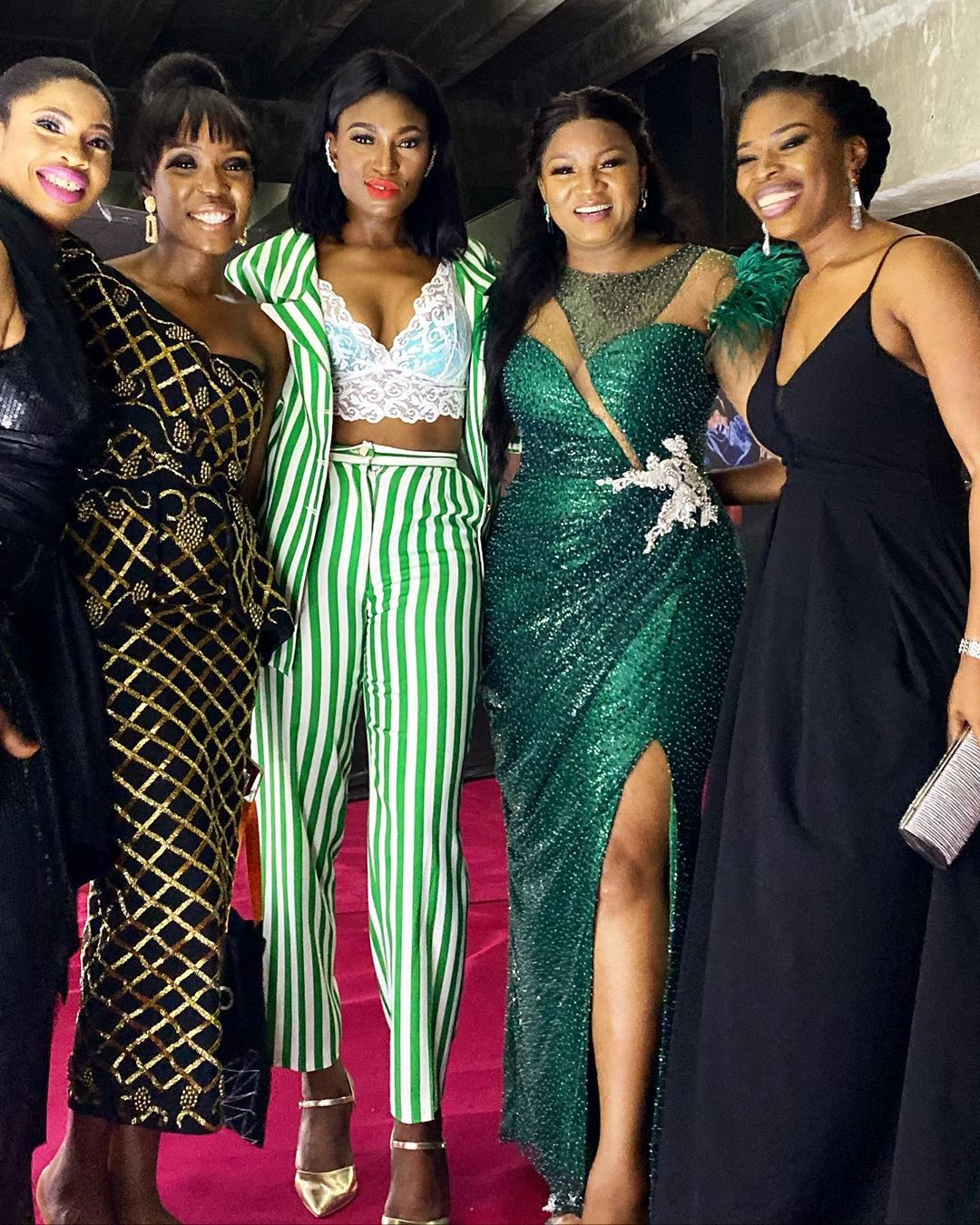 Omotola Jalade-Ekeinde (second right) joined several African movie stars and practitioners at the 2019 AFRIFF Globe awards. [Instagram/Omosexy]