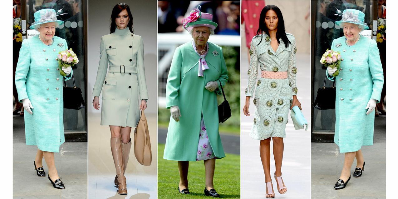 Miętowe płaszcze królowej /Gucci / Burberry Prorsum