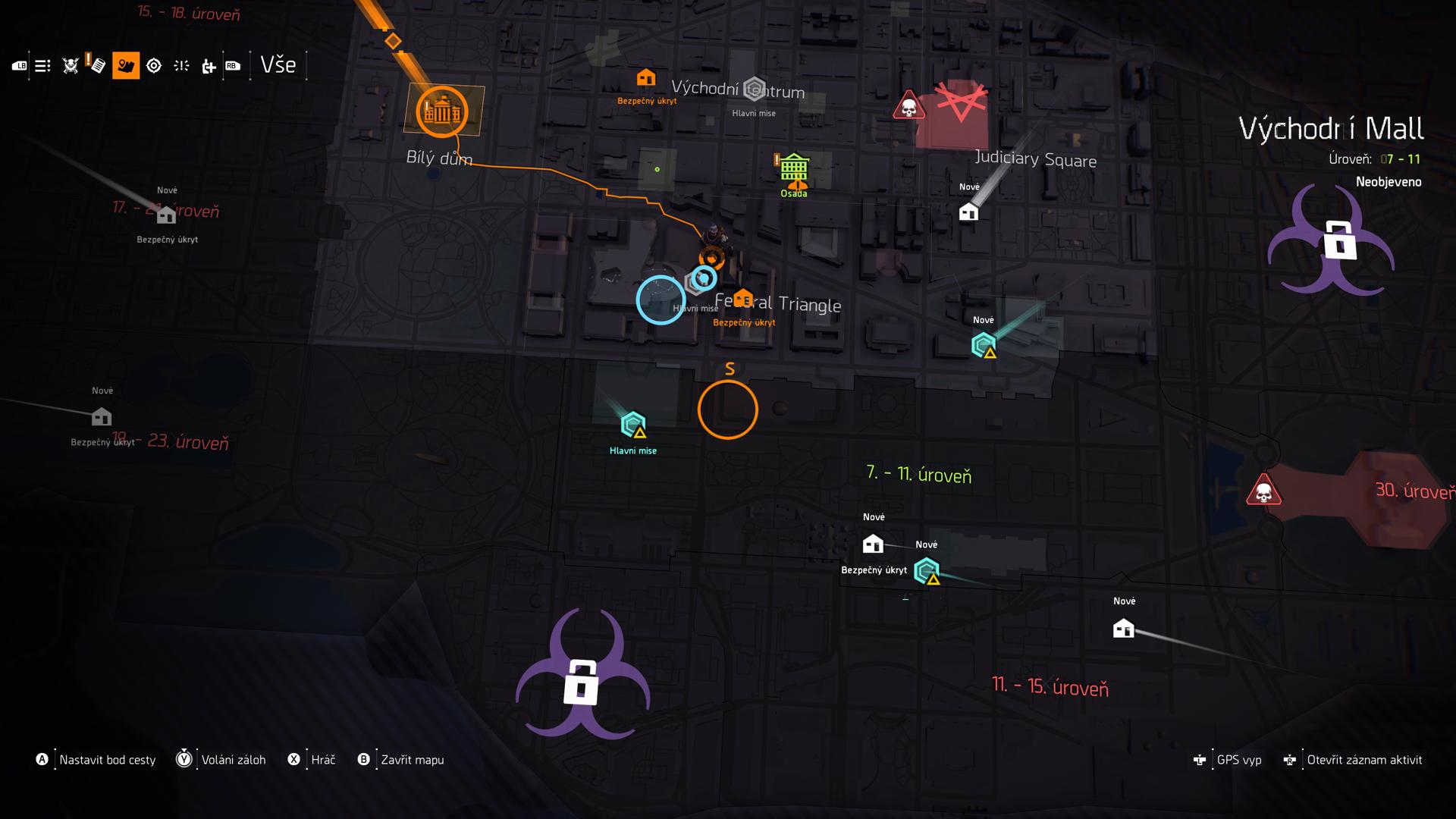 Mapa je rozdelená na viacero sektorov podľa úrovne vašej postavy.