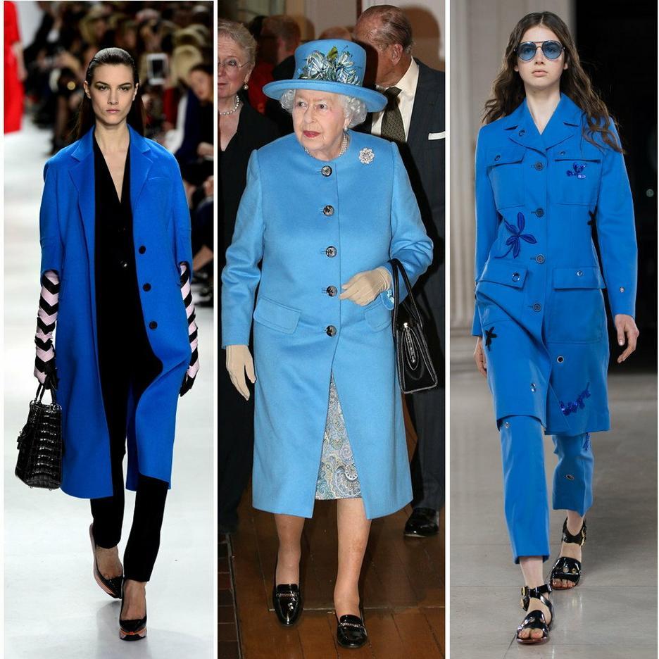 Niebieski płaszczyk Elżbiety II / Dior jesień-zima 2014/15/ Jonathan Saunders wiosna 2015