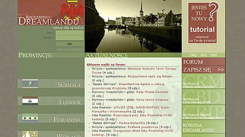 Strona główna najstarszego polskojęzycznego państwa wirtualnego - Królestwa Dreamlandu.