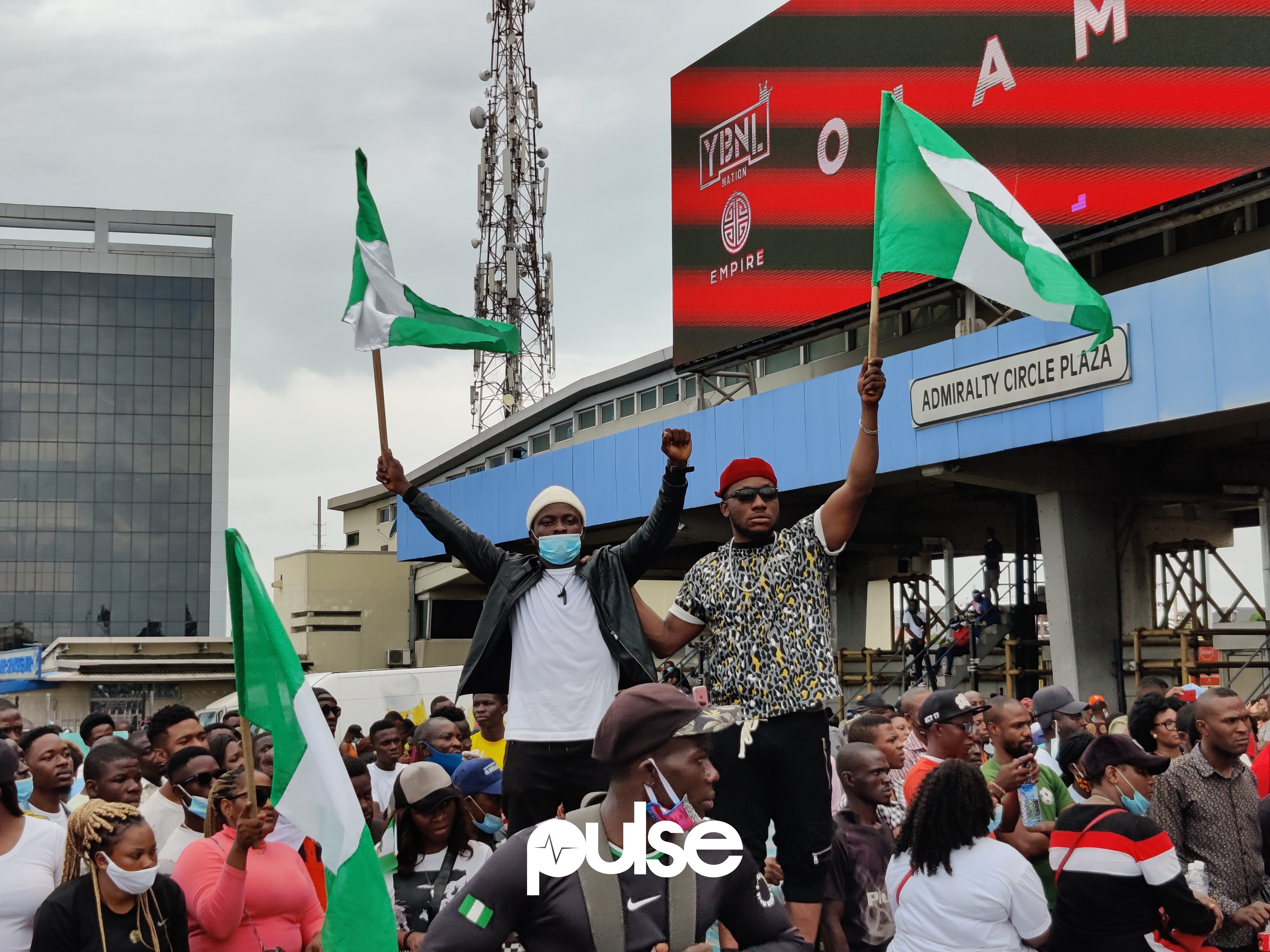 #EndSARS protesters at the Lekki Toll Gate, Lagos
