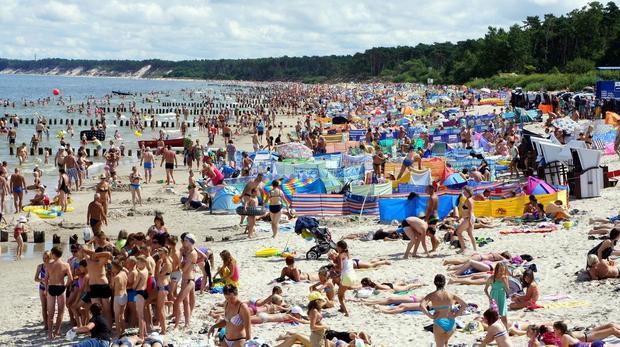 Plaża w Ustce w wakacje