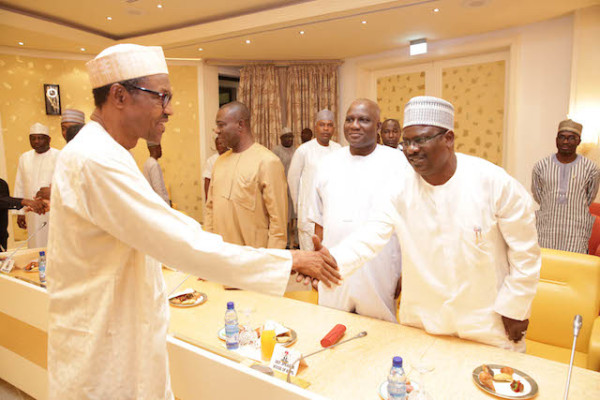 Senator Ndume (right) believes the government, led by President Buhari (left), needs to prioritise the comfort of victims over that of perpetrators  [Sahara Reporters]