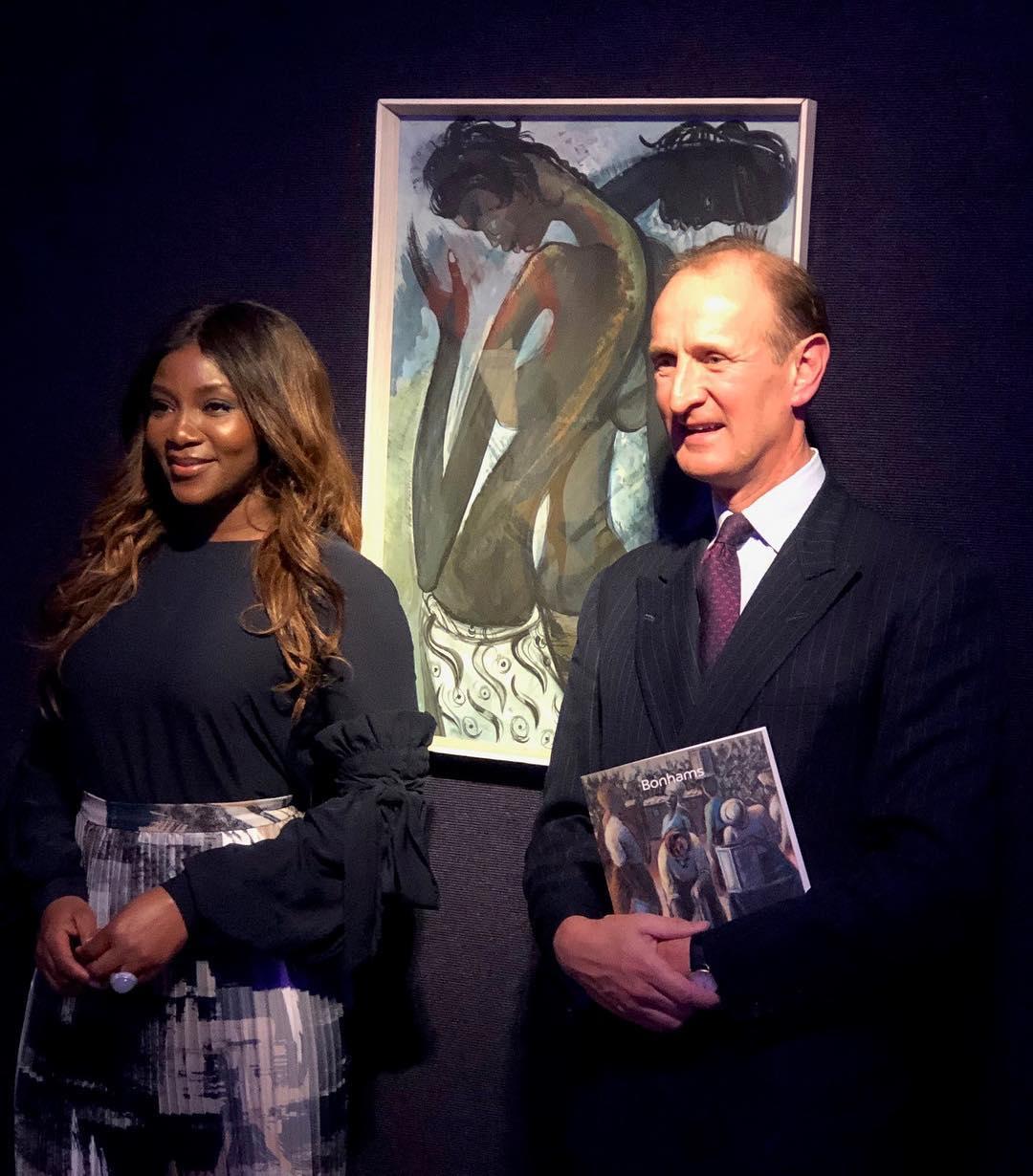 Genevieve Nnaji was a guest at Bonhams African Art headquarters in London where she screened her directorial debut, 'Lionheart' in 2019. [Instagaram/Bonhams]