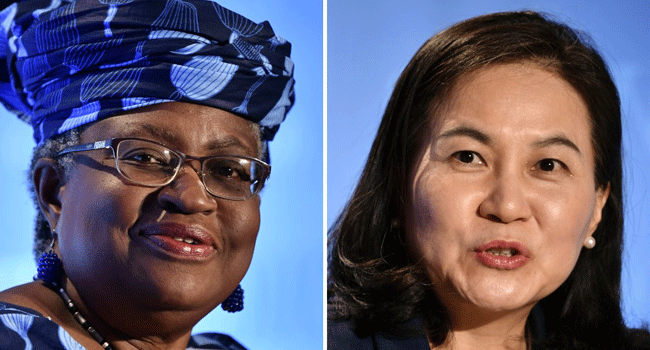 A photo combination of Nigeria's Dr Ngozi Okonjo-Iweala (L) and South Korean Trade Minister, Yoo Myung-hee (R). Both women are in the running to lead the World Trade Organisation.Fabrice COFFRINI / AFP