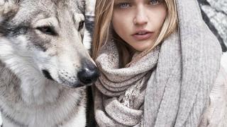 Sasha Pivovarova w zimowym lookbooku Mango