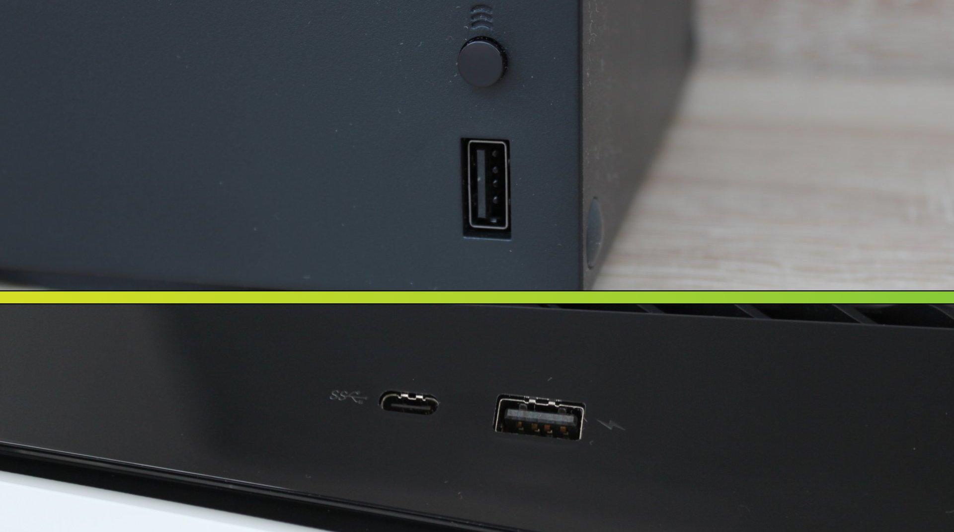 Xbox Series X má vpredu len jeden USB 3.1. PlayStation 5 zase USB 2.0 a USB typu C.