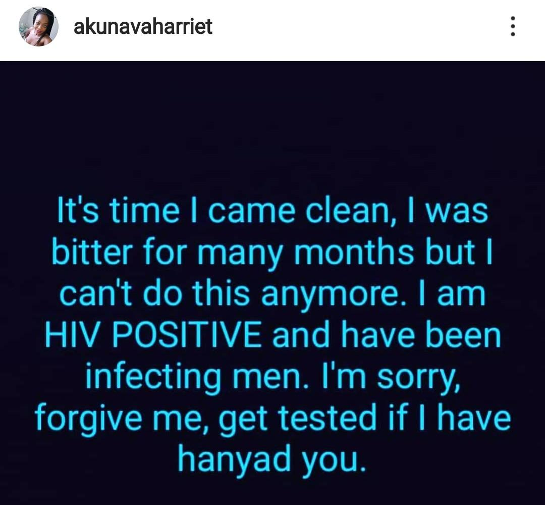 HIV positive lady claims she's been infecting men deliberately out of bitterness