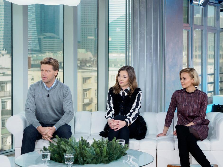 Agnieszka Wesołowska, Ewelina Rydzyńska, Wojciech Brzozowski w studio DDTVN