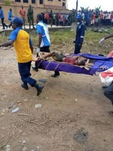 One of the victims during the Abule-Ado explosion in Lagos on Sunday. [NAN]