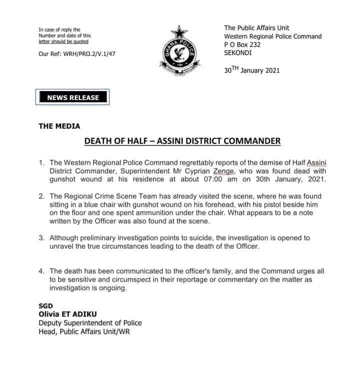 Suicide: Half Assini District Police Commander shoots himself