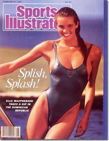 """Okładka """"Sports Ilustrated"""" z Elle Macpherson 1987 rok"""
