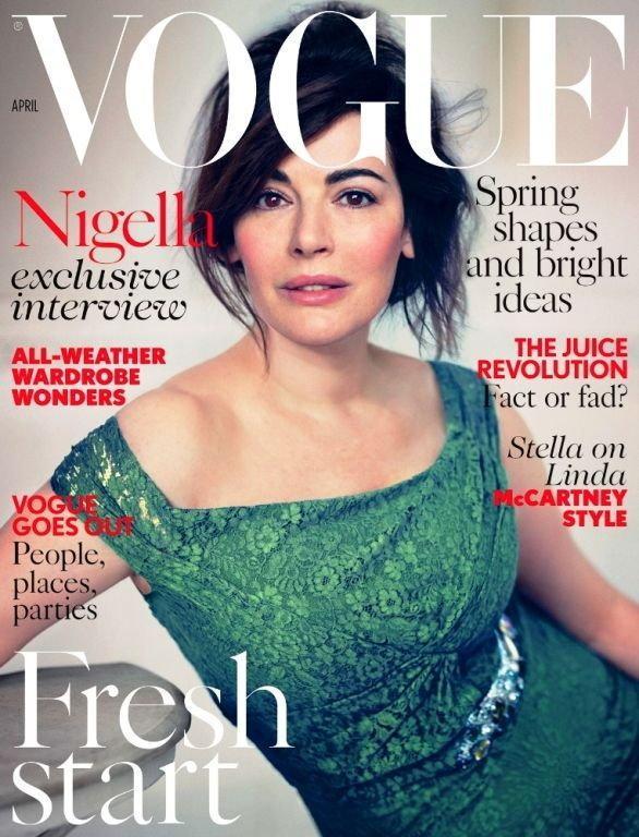 Nigella Lawson na okładce Vogue UK, kwiecień 2014 / fot. Vogue UK