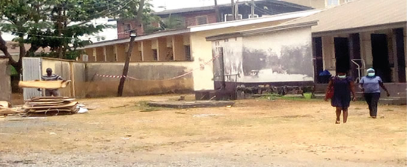 Mainland Hospital in Yaba where the Italian coronavirus patient was being quarantined before he was moved to a better facility. (Punch)