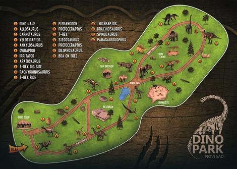 Mapa dinosaurusa u novosadskom Dino-parku