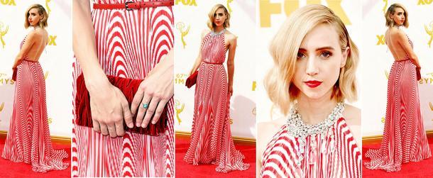 Best Look: Zoe Kazan w pasiastej sukni Miu Miu