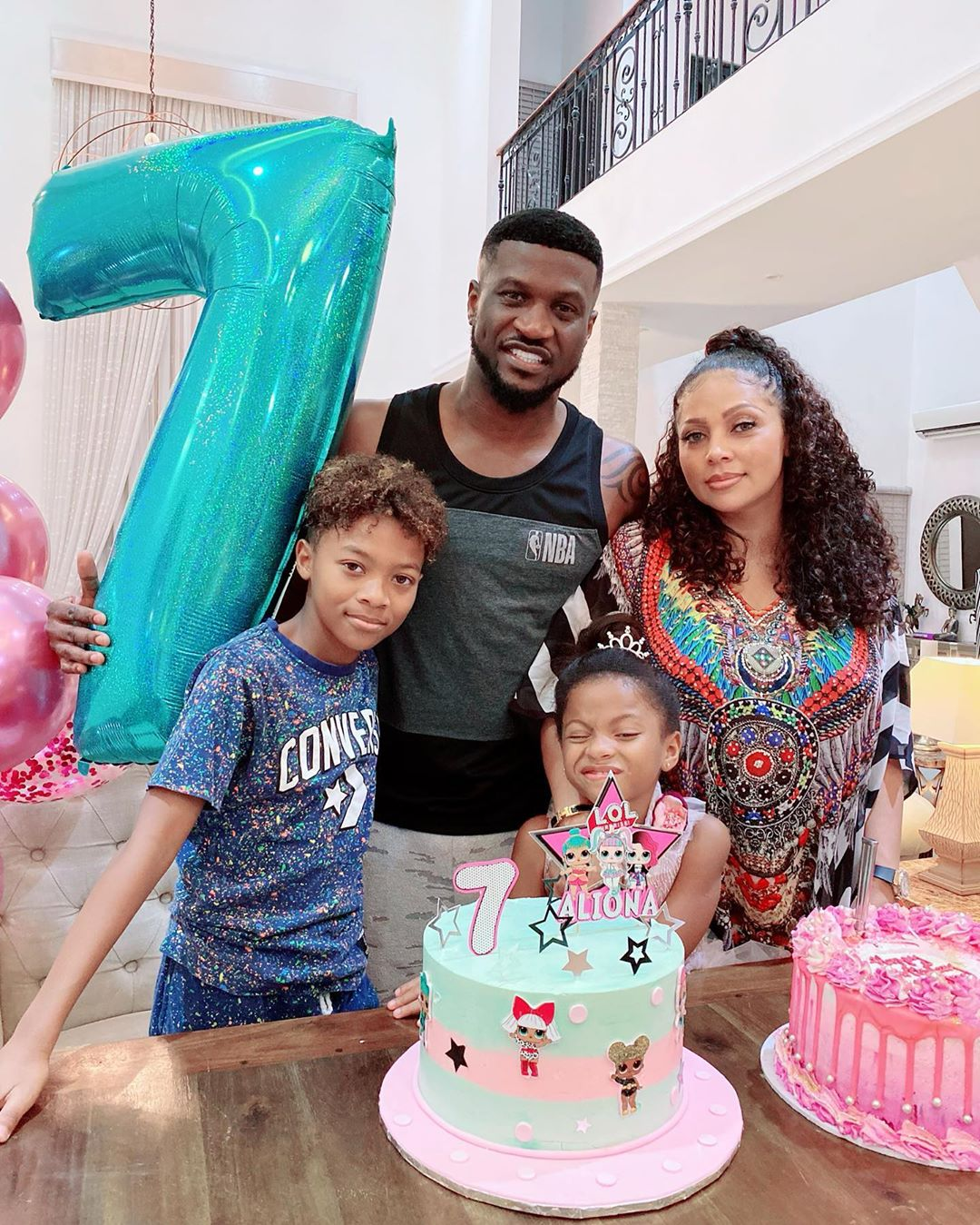 Okoye and Lola Omotayo got married in 2013 in a well-attended wedding.They are blessed with two children, Cameron and Aliona. [Instagram/PeterPsquare]