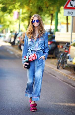 Best Look: Chiara Ferragni w jeansowej piżamie Fendi