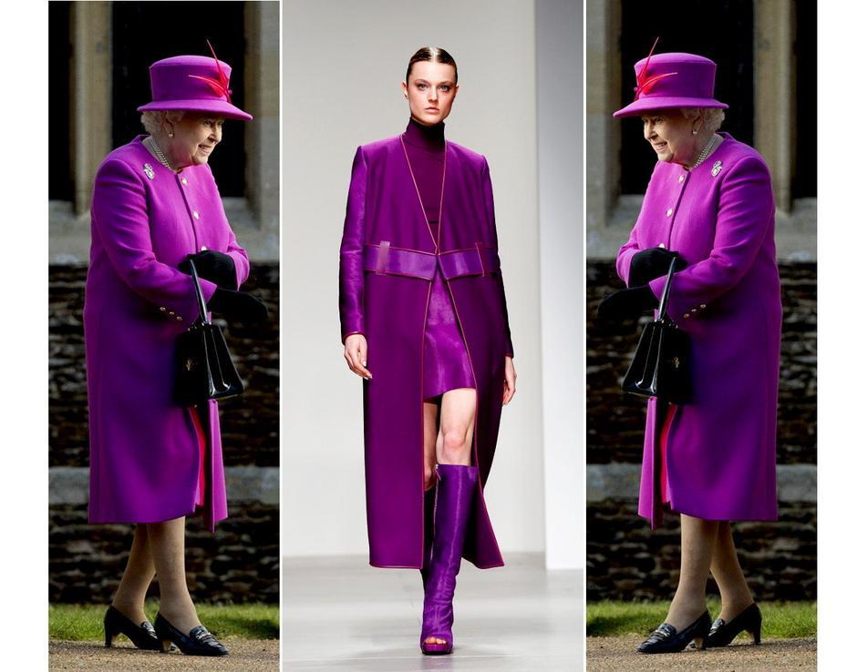 Fioletowy płaszcz Elżbiety II / David Koma