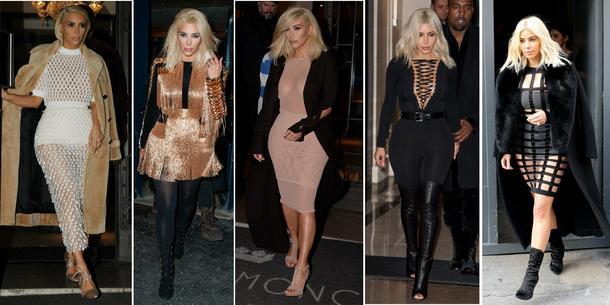 Kim Kardashian w Paryżu: przezroczyste kreacje, duże dekolty, lateks, skóra